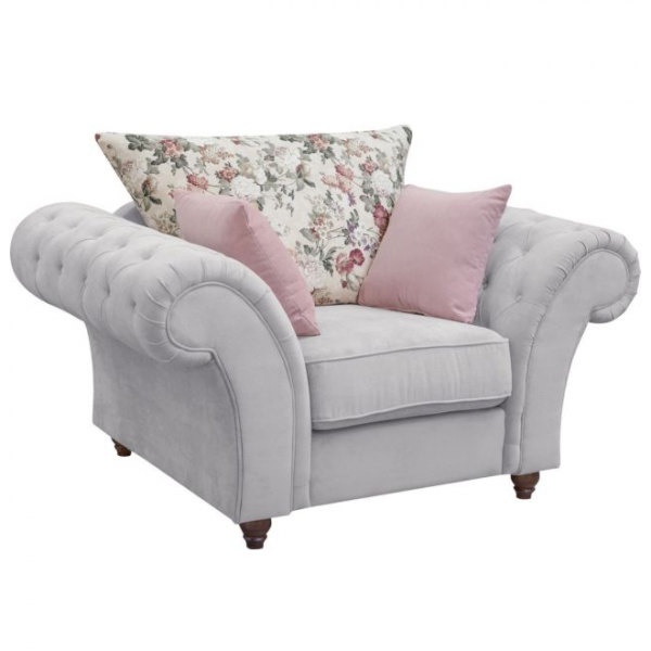Windsor Chesterfield Fabric Armchair in Stone