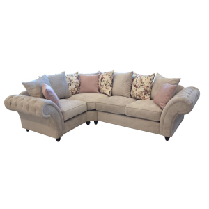 Windsor Chesterfield Fabric Left Hand Corner Sofa in Stone