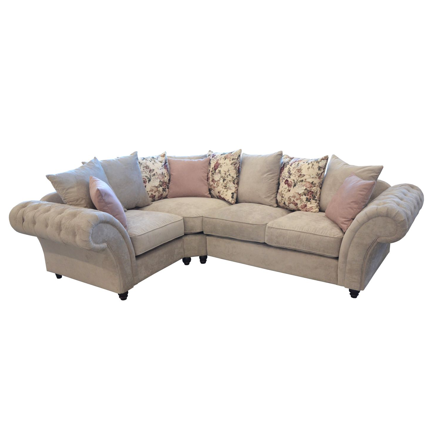 Windsor Chesterfield Fabric Left Hand Corner Sofa In Stone Just