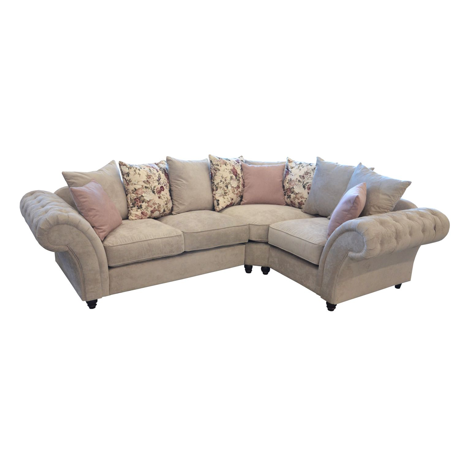 Windsor Chesterfield Fabric Right Hand Corner Sofa in Stone Just Sit On